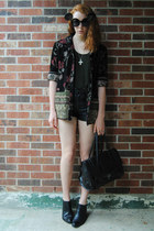 black ankle thrifted boots - black floral thrifted jacket - black satchel bag