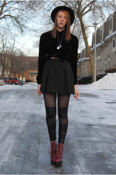 mesh tights - platform Jeffrey Campbell boots - H&M hat - pleated thrifted skirt