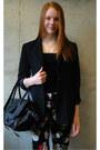 Black-floral-h-m-pants-black-vintage-thrifted-blazer