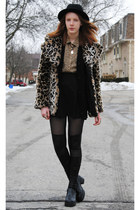 light brown leopard Guess coat - black thrifted shoes - black H&M hat