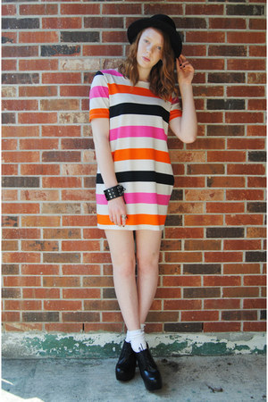 black bowler H&amp;M hat - orange color block H&amp;M dress - black studded bracelet