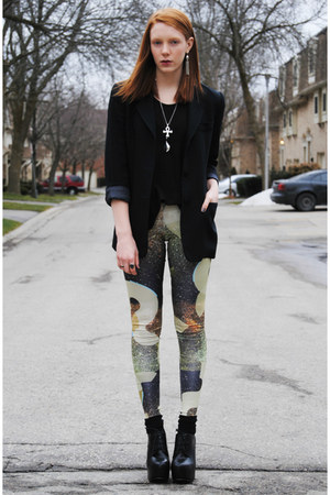 lime green printed leggings - black thrifted blazer - black platform heels