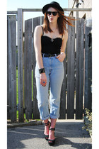 sky blue high waisted thrifted jeans - black bowler H&M hat