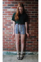 brown thrift shorts - camel socks - dark green silk thrift blouse - dark brown b