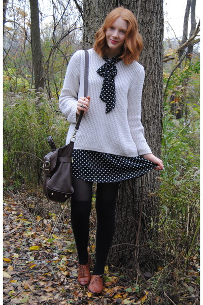 brown thrifted shoes - black polkadot f21 dress