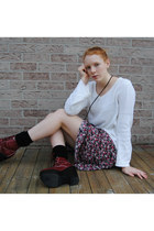 white thrifted sweater - brick red tardy Jeffrey Campbell boots