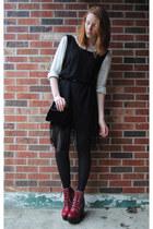 brick red platform Jeffrey Campbell boots - black thrifted dress