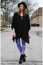 Black-asymmetrical-thrifted-dress-black-bowler-h-m-hat-purple-leggings