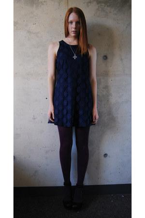 navy floral thrifted dress - black Target tights - black flatforms Gap wedges