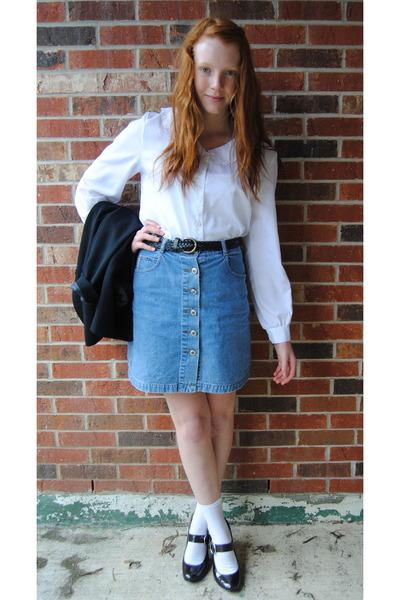 Denim Skirt And Blouse - Dress Ala