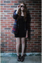 navy thrift jacket - black H&M dress