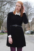 black velvet thrifted dress - magenta Target tights - black thrifted belt