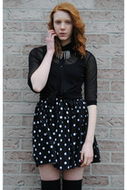 white polka dot thrifted skirt - black leather thrifted boots