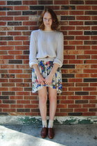 off white drop back Thrift and DIY skirt - brown thrift shoes
