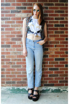 sky blue high waisted thrifted jeans - dark brown flannel thrifted shirt