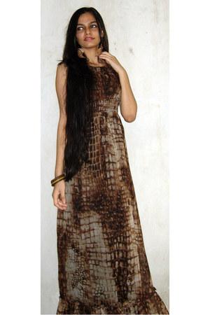 dark brown maxi dress thrifted vintage dress
