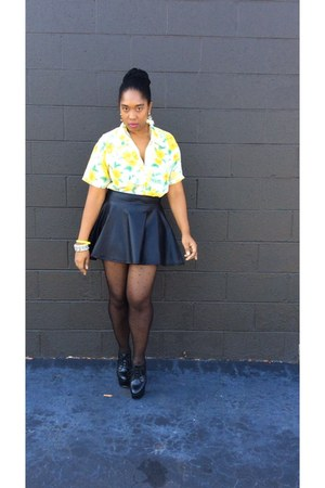 yellow silk no brand blouse - black pleather skirt skirt