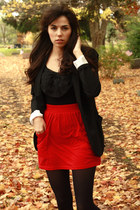 black Target blazer - bow H&M shirt - red American Apparel skirt