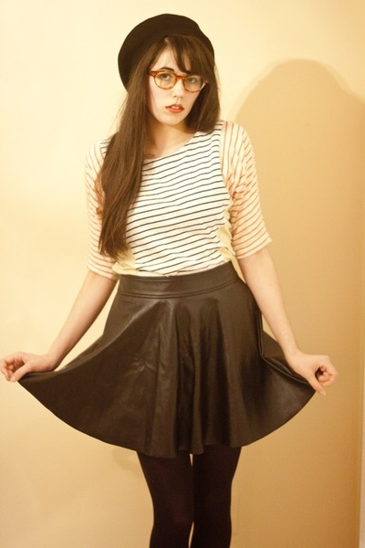 striped Sugarlips dress - pleather Forever 21 skirt