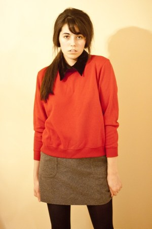 sweatshirt thrifted sweater - velvet collar thrifted accessories - Jcrew skirt