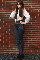 Urban Outfitters jeans - thrifted blouse - suede Call it Spring heels