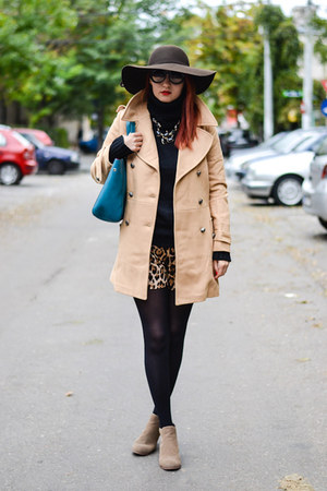 romwe coat - kurtmann hat - rednbold shorts - zeroUV sunglasses