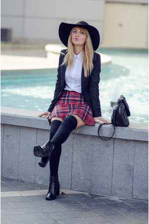 Pimkie skirt - ruby red Zara boots - H&M hat
