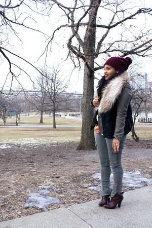 H&M hat - H&M scarf - olive green j brand J Brand pants