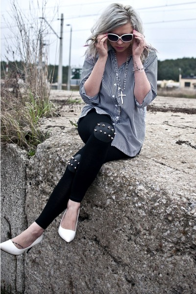 black Choies leggings - off white Secondhand shirt
