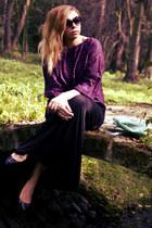 purple vintage blouse - black c&a skirt