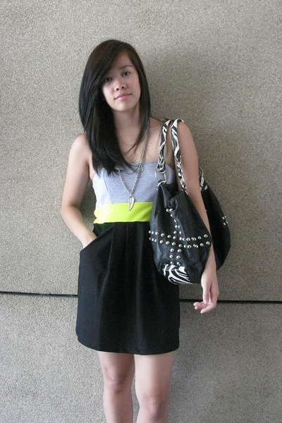 black People are People dress - black Celine purse - silver maldita accessories