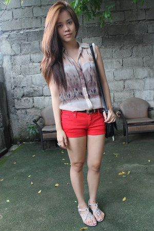 black Mango bag - red Mango shorts - light brown sheer Mango top