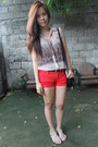 Black-mango-bag-red-mango-shorts-light-brown-sheer-mango-top