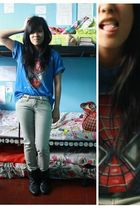 blue spiderman shirt - gray jeans - black Zara boots