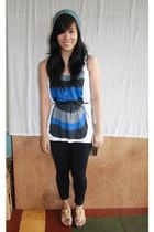 black leggings - blue Folded and Hung top - beige shoes