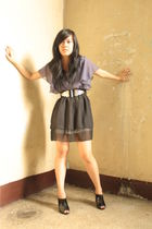 purple Femme dress - black random shoes - black belt