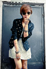 Silver-thrifted-dress-black-studded-jacket-gold-indian-bangles-accessories