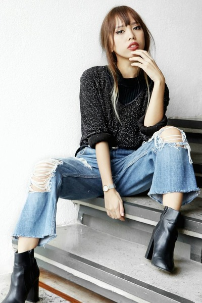 black Forever 21 boots - sky blue diy ripped Gap jeans