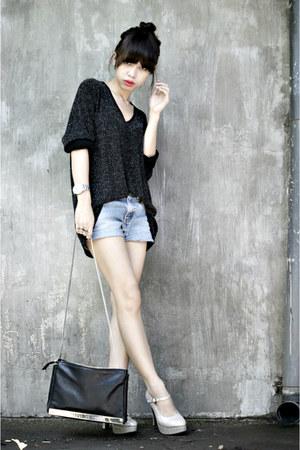 silver Generous top - black Zara bag - silver maryjanes Zanea pumps
