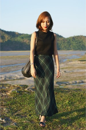 dark green maxi thrifted skirt - black Parisian wedges - silver Esprit watch