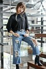Black-forever-21-boots-sky-blue-diy-ripped-gap-jeans