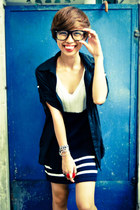 white dress - navy knitted thrifted dress - black top - black glasses