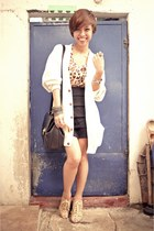 tawny top - nude MNJ shoes - black bag - white oversized moms cardigan