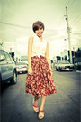 Ruby-red-mendrez-wedges-mustard-mendrez-wedges-brick-red-vintage-skirt