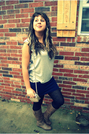 Forever 21 blouse - Forever 21 skirt - Forever 21 stockings - Target boots