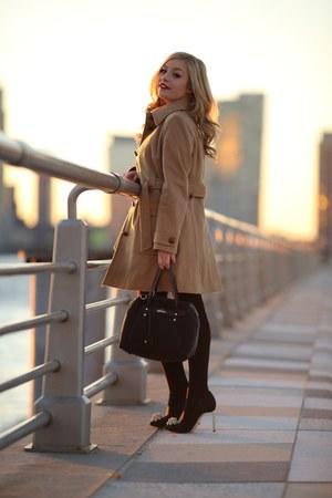 tan classic coat J Crew coat - black festive bag Kipling bag