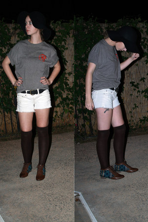 black sun hat hat - dark brown boots - white shorts - dark brown socks