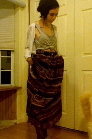 skirt - cheetah print shoes - top - Mossimo cardigan - belt