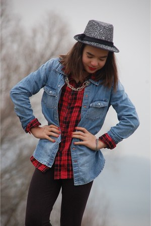 ruby red checkered H&M blouse - black glitter H&M hat