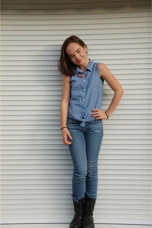 blue denim H&M blouse - black black leather boots